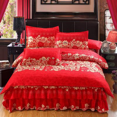 高克重植物羊绒斜纹磨毛床裙四件套 2.0m(6.6英尺)床 红色之恋