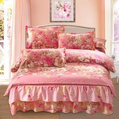 高克重植物羊绒斜纹磨毛床裙四件套 1.8m(6英尺)床 花嫁殿堂