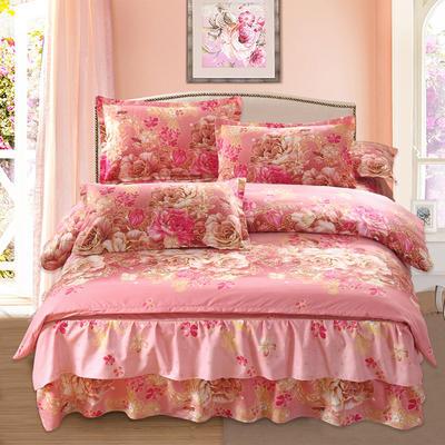 高克重植物羊绒斜纹磨毛床裙四件套 2.0m(6.6英尺)床 花嫁殿堂