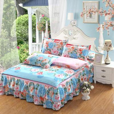 高克重植物羊绒斜纹磨毛床裙四件套 2.0m(6.6英尺)床 花语