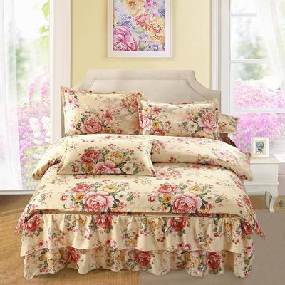 高克重植物羊绒斜纹磨毛床裙四件套 2.0m(6.6英尺)床 流金溢彩