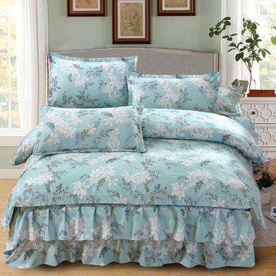 高克重植物羊绒斜纹磨毛床裙四件套 2.0m(6.6英尺)床 叶语浪漫