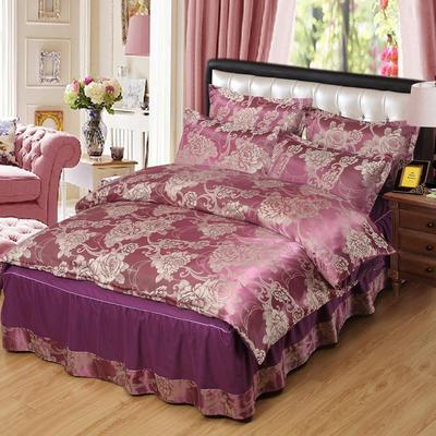 贡缎提花床裙款四件套 1.8m(6英尺)床 花都绽放(紫色)