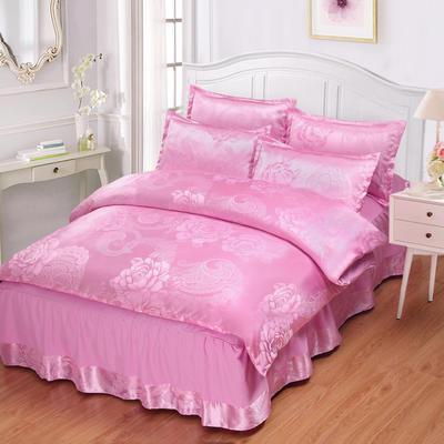 贡缎提花床裙款四件套 1.8m(6英尺)床 花间飞舞(粉红)