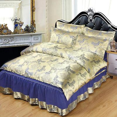 贡缎提花床裙款四件套 1.8m(6英尺)床 曼珠莎华(宝石蓝)