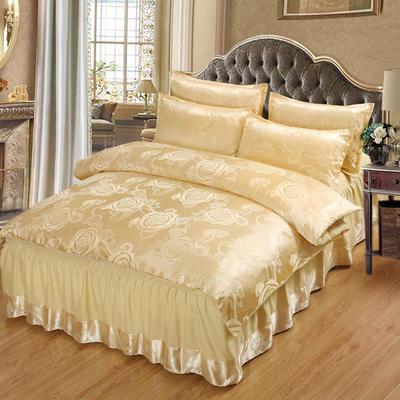 贡缎提花床裙款四件套 1.5m(5英尺)床 玫瑰之约(金驼)