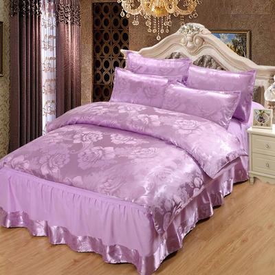 贡缎提花床裙款四件套 1.8m(6英尺)床 紫韵花开(雪青)