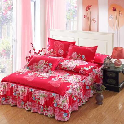 高克重植物羊绒斜纹磨毛床裙四件套 2.0m(6.6英尺)床 宠爱