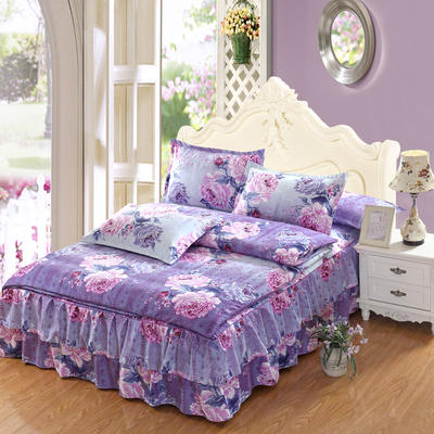 高克重植物羊绒斜纹磨毛床裙四件套 2.0m(6.6英尺)床 魅力色彩