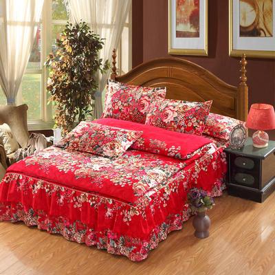 高克重植物羊绒斜纹磨毛床裙四件套 2.0m(6.6英尺)床 夕颜