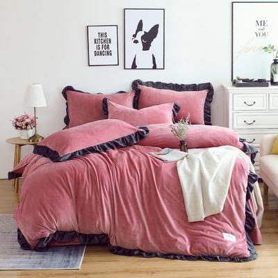 2018新款韩版加厚花边水晶绒四件套 1.2三件套保暖被套 1.2m(4英尺)床 豆沙