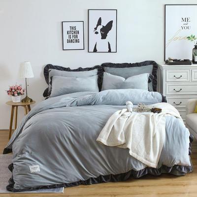 2018新款韩版加厚花边水晶绒四件套 1.2三件套保暖被套 1.2m(4英尺)床 高级灰