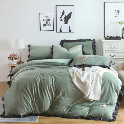 2018新款韩版加厚花边水晶绒四件套 1.2三件套保暖被套 1.2m(4英尺)床 孔雀绿