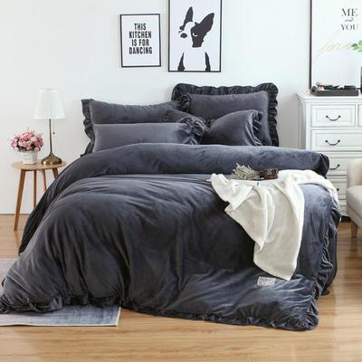 2018新款韩版加厚花边水晶绒四件套 1.2三件套保暖被套 1.2m(4英尺)床 水墨兰