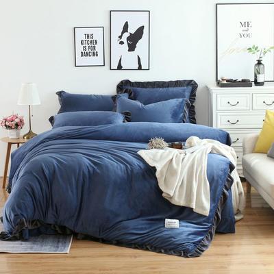 2018新款韩版加厚花边水晶绒四件套 1.2三件套保暖被套 1.2m(4英尺)床 臧蓝
