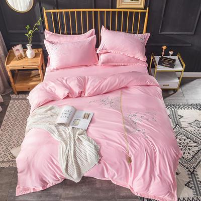 2019新款水洗真丝天丝绣花四件套--梅花款 1.8m(6英尺)床 粉色