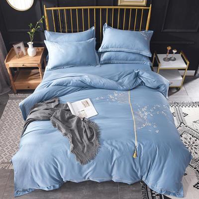 2019新款水洗真丝天丝绣花四件套--梅花款 1.8m(6英尺)床 蓝色