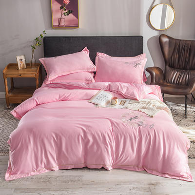 2019新款水洗真丝天丝绣花四件套--蜻蜓款 1.5m(5英尺)床 粉色
