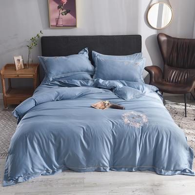 2019新款水洗真丝天丝绣花四件套--蜻蜓款 1.5m(5英尺)床 蓝色