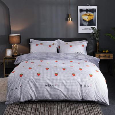 2019新款磨毛加法莱绒四件套 1.5m床单款三件套 草莓物语