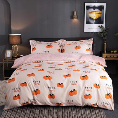 2019新款磨毛加法莱绒四件套 1.5m床单款三件套 完美柿子