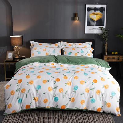 2019新款磨毛加法莱绒四件套 1.5m床单款三件套 香橙