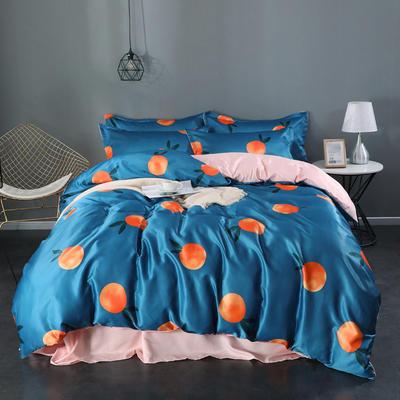 2020新款双面水洗真丝四件套 1.5m床单款 甜橙