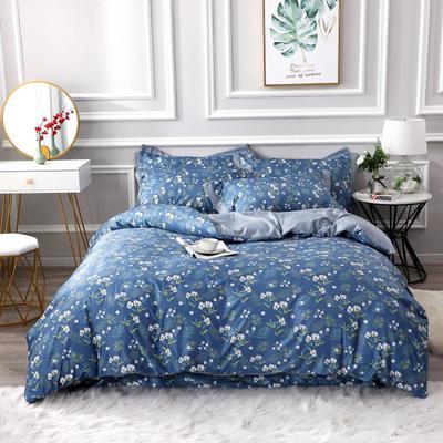 2020新款水洗天丝棉四件套 1.5m床单款四件套 花儿朵朵绿