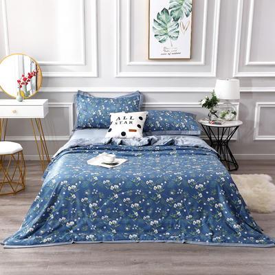 2020新款水洗天丝棉夏被四件套 150x200cm单夏被 花儿朵朵蓝