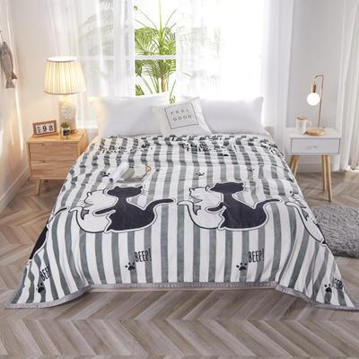 2020新款秋冬双面加厚云貂绒毛毯金貂绒法莱绒毯子 150*200cm 黑白猫