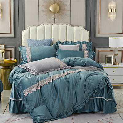 2020新款欧式床裙款蕾丝花边水晶绒四件套牛奶绒宝宝绒套件 1.8m床单款四件套 湖蓝