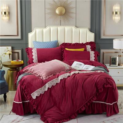 2020新款欧式床裙款蕾丝花边水晶绒四件套牛奶绒宝宝绒套件 1.8m床单款四件套 酒红