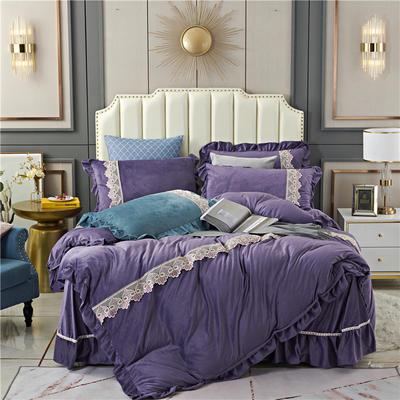 2020新款欧式床裙款蕾丝花边水晶绒四件套牛奶绒宝宝绒套件 1.8m床单款四件套 紫罗兰