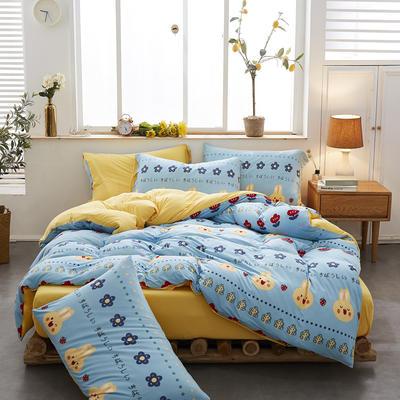 2020秋冬新款日系A类可裸睡手感柔软顺滑针织棉绒印花四件套 1.2m床单款三件套 米兔