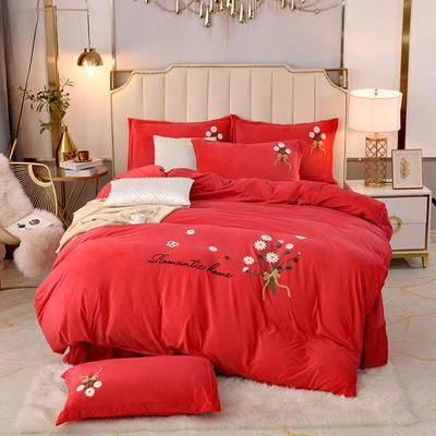 2020新款水晶绒牛奶绒毛巾绣保暖四件套 1.8m床单款四件套 大红