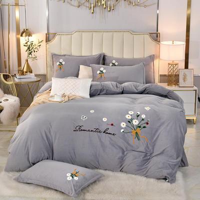 2020新款水晶绒牛奶绒毛巾绣保暖四件套 1.8m床单款四件套 银灰