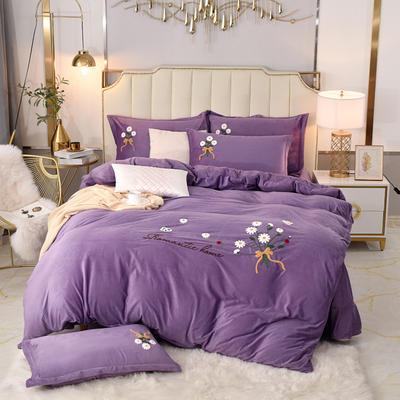 2020新款水晶绒牛奶绒毛巾绣保暖四件套 1.8m床单款四件套 紫色