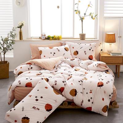 2020新款针织棉印花四件套 1.5m床单款四件套 草莓派对