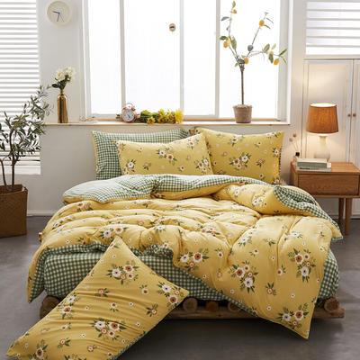 2020新款针织棉印花四件套 1.5m床单款四件套 花语浪漫