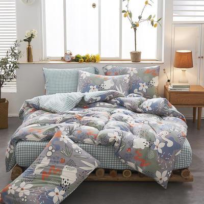 2020新款针织棉印花四件套 1.5m床单款四件套 梦语芬芳