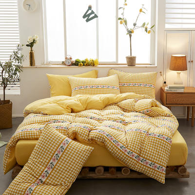 2020新款针织棉印花四件套 1.5m床单款四件套 茉莉格