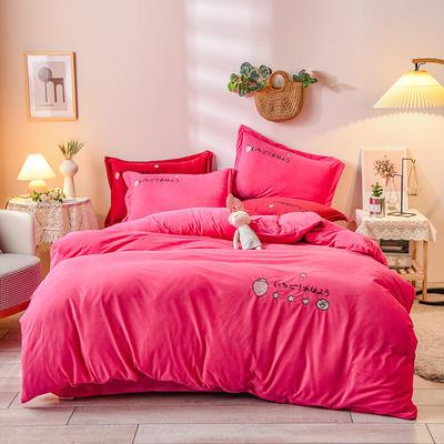 2020新款水晶绒毛巾绣四件套草莓款系列 1.8m床单款四件套 草莓梅红