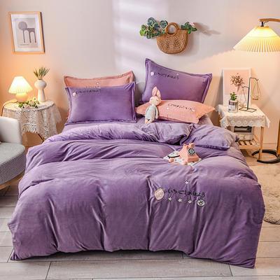 2020新款水晶绒毛巾绣四件套草莓款系列 1.8m床单款四件套 草莓紫色