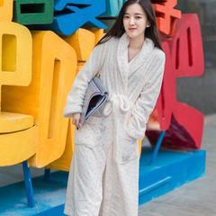 家居服绒类系列(白波点长睡袍 ) M适合165以上体重140左右 白波点长睡袍