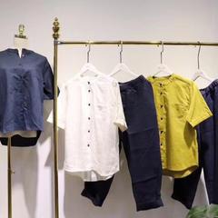 2018新款-亚麻套装三色 均码 黄色