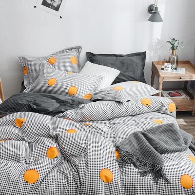 2019新款第二期全棉ins简约风四件套件(尺寸随意搭配) 1.2m床(床单款) 格子橙