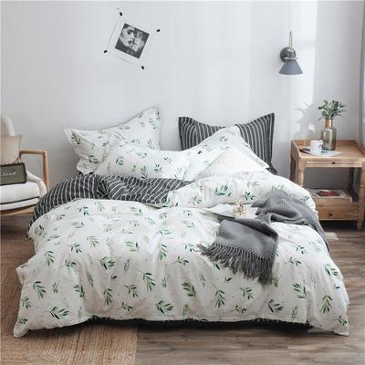 2019新款第二期全棉ins简约风四件套件(尺寸随意搭配) 1.2m床(床单款) 抹绿