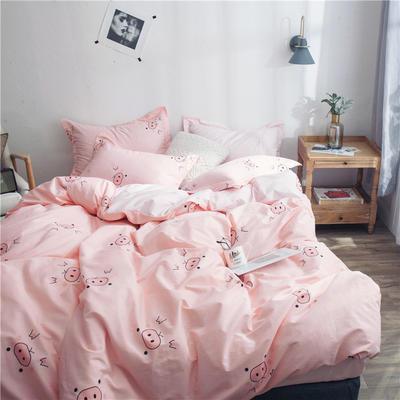 2019新款第二期全棉ins简约风四件套件(尺寸随意搭配) 1.8m床(2.0被套床单款) 猪猪女孩