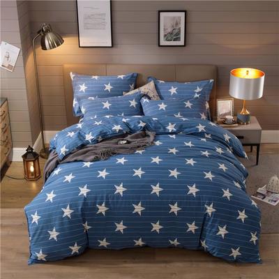 2019新款全棉生态磨毛四件套 1.2m床单款三件套 星星如你