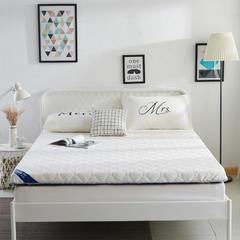 针织布纤维棉绗缝床垫(10cm) 1.2m 白蓝